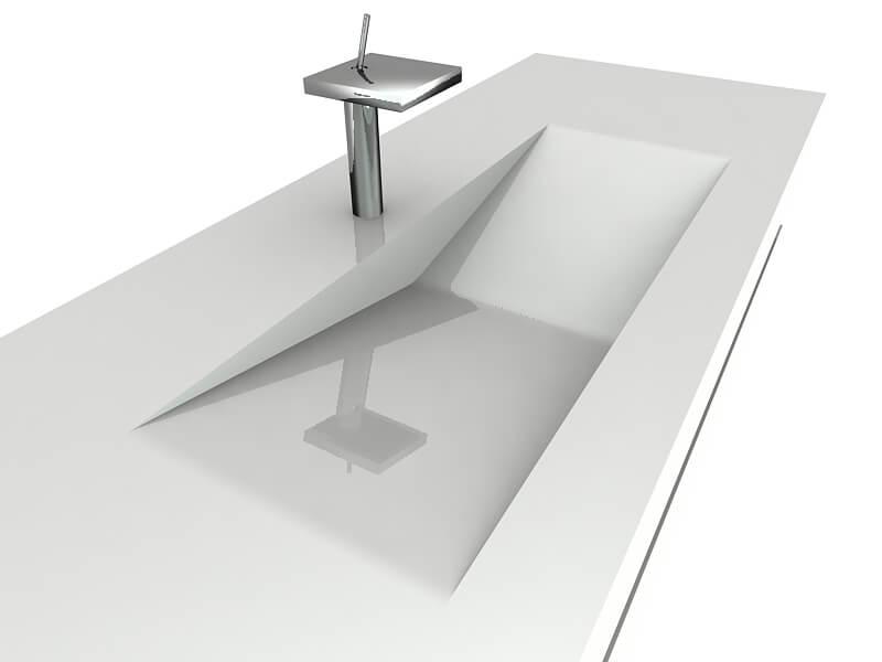 Proyecto de diseño industrial. Mueble lavabo. Detalle render 3d