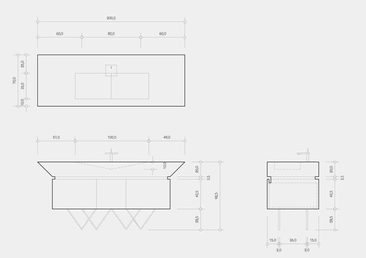 Proyecto de diseño industrial. Mueble lavabo. Planos técnicos