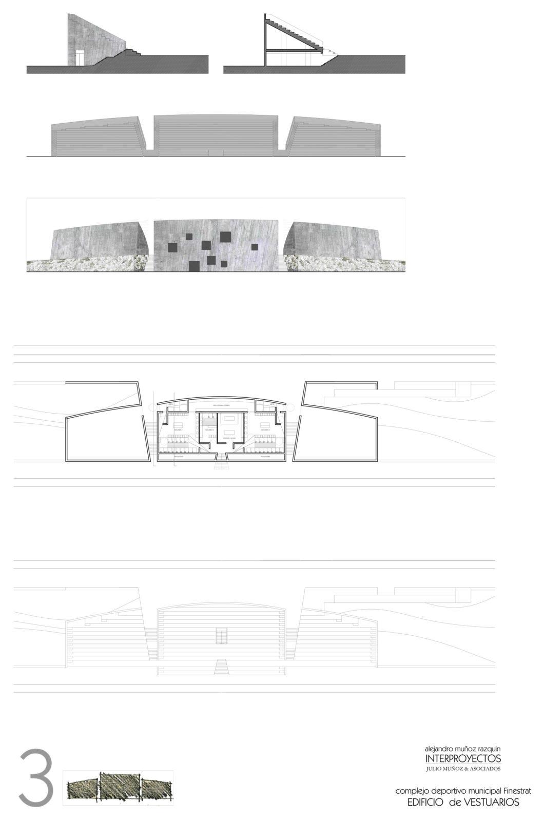 Planos técnicos de proyecto arquitectónico. Vestuarios y campo de fútbol de Finestrat